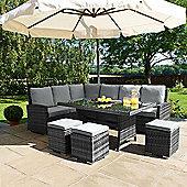 Maze Rattan - Kingston Corner Sofa Dining Set - Grey