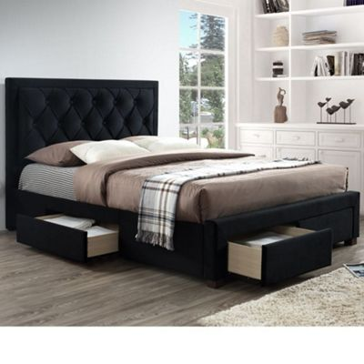 Happy Beds Woodbury Velvet Fabric 4 Drawers Storage Bed with Open Coil Spring Mattress - Black - 4ft6 Double