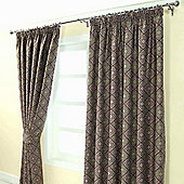 "Homescapes Purple Jacquard Curtain Abstract Aztec Design Fully Lined - 90"" X 72"" Drop"