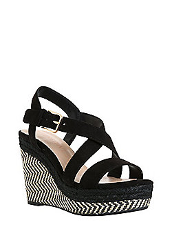 F&F Sensitive Sole Strappy Wedges - Black