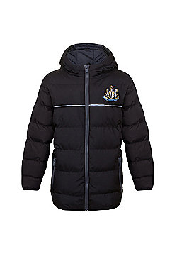 Newcastle United FC Boys Quilted Jacket - Black