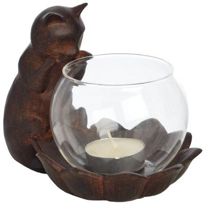 Designer Cat Tea Light/Candle Holder In Fishbowl Room Decoration