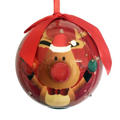 Straits Novelty LED Bauble 10cm, Reindeer