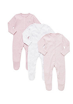 F&F 3 Pack of Floral and Plain Sleepsuits - Pink