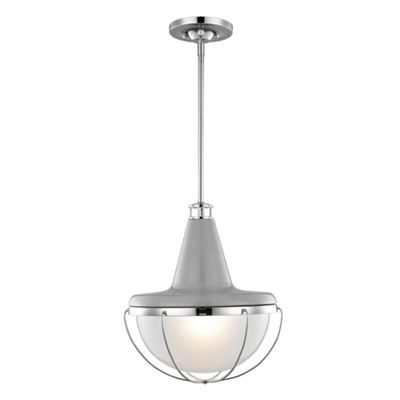High Gloss Gray / Polished Nickel Pendant - 1 x 100W E27