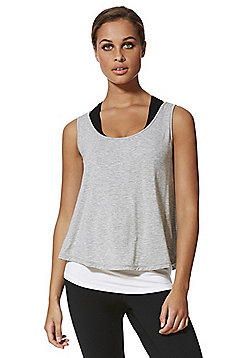 F&F Active Double Layer Split Back Vest - Grey & White