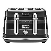 DeLonghi-CTA4003BK Avvolta 4 Slice Toaster with Browning Control and Removable Crumb Tray in Black
