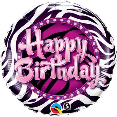 Happy Birthday Zebra Print Round Balloon - 18 inch Foil