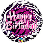Happy Birthday Zebra Print Round Balloon - 18 inch Foil
