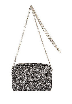 F&F Glitter Camera Bag Pewter One Size