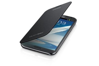 Samsung Original Clip-On-Replacement Battery Cover with Leather Feel Flip Case Galaxy Note 2/II - Silver