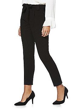 JDY Tie Waist Ankle Grazer Trousers - Black
