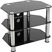 AVF Universal Black Glass and Chrome Legs TV Stand For up to 32 inch TVs