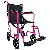 Aidapt Aluminium Compact Transport Wheelchair in Pink
