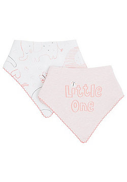 F&F 2 Pack of Slogan and Elephant Print Dribble Bibs - Pink & White