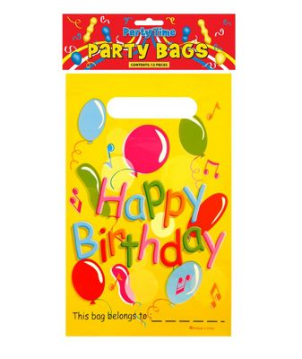 12 Pack Party Time Happy Birthday Party Bags