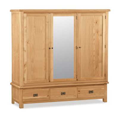 Zelah Oak Large Triple Wardrobe with Drawers - Rustic Oak