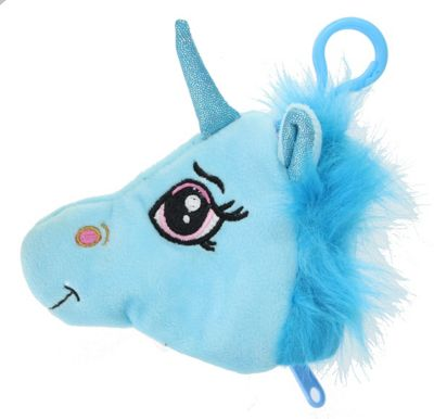 Children's Soft Plush Unicorn Head Purse with Clip Gift Accessory-Blue
