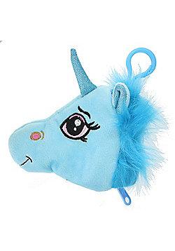 Children's Soft Plush Unicorn Head Purse with Clip Gift Accessory - Blue