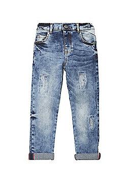 F&F Distressed Slim Fit Jeans - Bleach wash