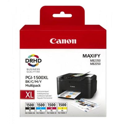 Canon PGI-1500XL C/M/Y/BK Ink Cartridge - Inkjet - High Yield - 4 / Pack