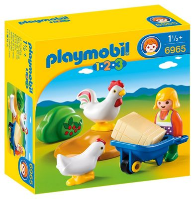 Playmobil 1.2.3 Farmer's Wife with Hens 6965