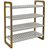 Slats - Bamboo 4 Shelf 16 Pair Shoe Storage Rack - White / Natural