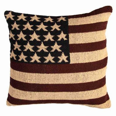Homescapes Jacquard USA Flag Cushion Cover Stars And Stripes Tapestry, 45 x 45 cm