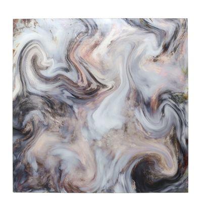 Cream, Grey & Brown Marble Style New Glass Art Print