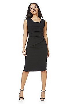 Feverfish Asymmetric Ruched Pleat Pencil Dress - Black