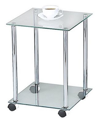 2-Tier Glass Side Table With Wheels-Clear