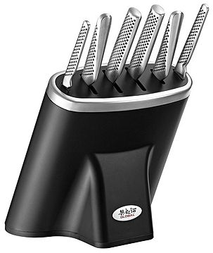 Global Zeitaku 7 Piece Professional Knife Block Set in Black G-79599B
