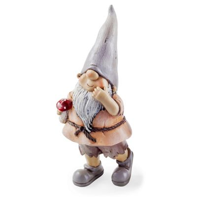 Moss the Garden Loving Gnome Ornament with Mushroom