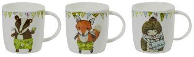 Roy Kirkham Set of 3 Creature Comforts Mugs, Badger, Fox, Hedgehog