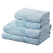 100% Cotton 2 Hand 2 Bath Towel Bale - Duck Egg Leaf