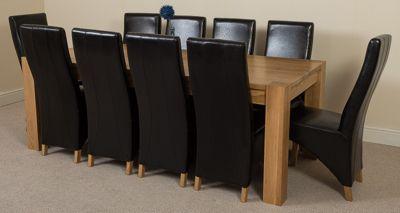 Kuba Chunky Solid Oak 220 cm with 10 Black Lola Leather Chairs
