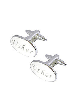 White Enamel Usher Wedding Cufflinks