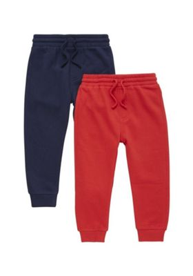 F&F 2 Pack of Drawstring Joggers Navy/Red 12-18 months