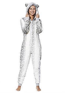 F&F Snow Leopard Fleece Onesie - Grey