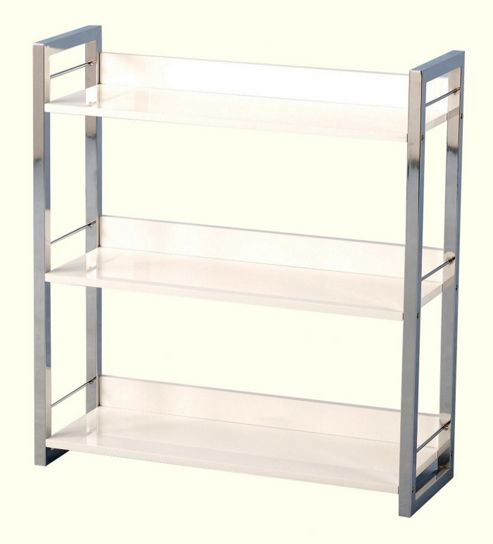 Boston Three Shelf Bookcase/Display Unit in Black - White