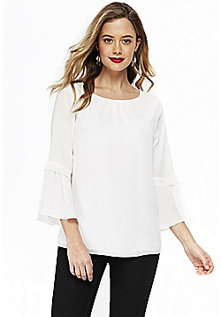 Wallis Happy Days Bell Sleeve Top - Cream