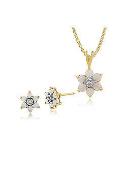 Gemondo 9ct Yellow Gold Opal & Diamond Floral Stud Earrings & 45cm Necklace Set