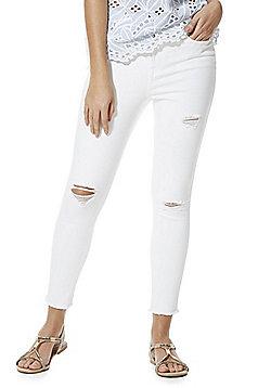 F&F Frayed Hem Ankle Grazer High Rise Skinny Jeans - White