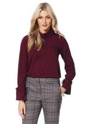 Vero Moda High Neck Drawstring Sleeve Shirt XS Burgundy