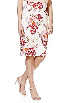 F&F Orchid Print Scuba Pencil Skirt - Cream & Pink