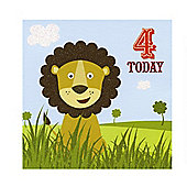Jungle Friends Boys 4th Birthday Card