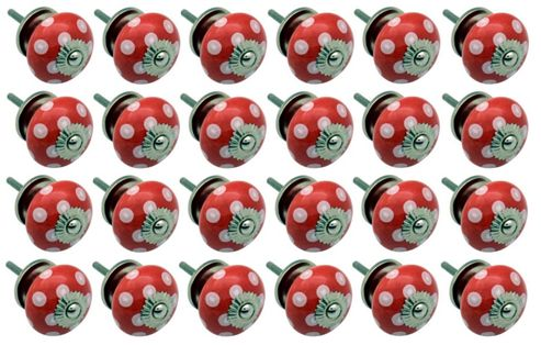 Ceramic Cupboard Drawer Knobs - Polka Dot Design - Red / White - Pack Of 24