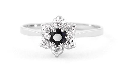 QP Jewellers Sapphire & SI-2 Diamond Ontario Wildflower Ring in 14K White Gold - Size O
