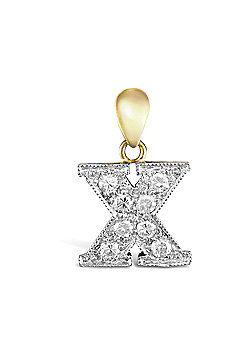 9ct Yellow Gold Cubic Zirconia Initial Charm Identity Pendant - Letter X