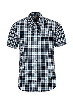 Mountain Warehouse Mens 100% Cotton Holiday Shirt w/ Easy Care & Mesh Lining - Blue